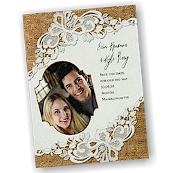 Battenburg Lace Photo Save the Date Card