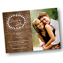 Rustic Woodgrain Photo Save the Date Card